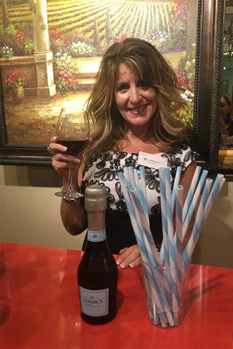 Our wine expert, Tara Merlino of Gallo Wines served individual bottles of LaMarca prosecco through a straw!
