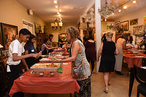 Guests enjoying delicious Italian food from area restaurants.